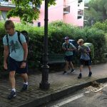On the move again. Jerry and the boys on our walk to the Moneglia train station.