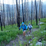 Holly and Kathy, starting up Doubletop Mountain Trail, through a recently-burned forest.