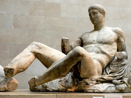 Part of the Elgin Marbles, this naked man reclines on a rock, cushioned by the skin of a feline animal. He is probably Dionysos, god of wine. (His missing right hand perhaps held a cup of wine?)
