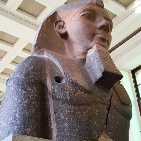 The statue of King Ramesses II is the upper part of a colossal seated statue.
