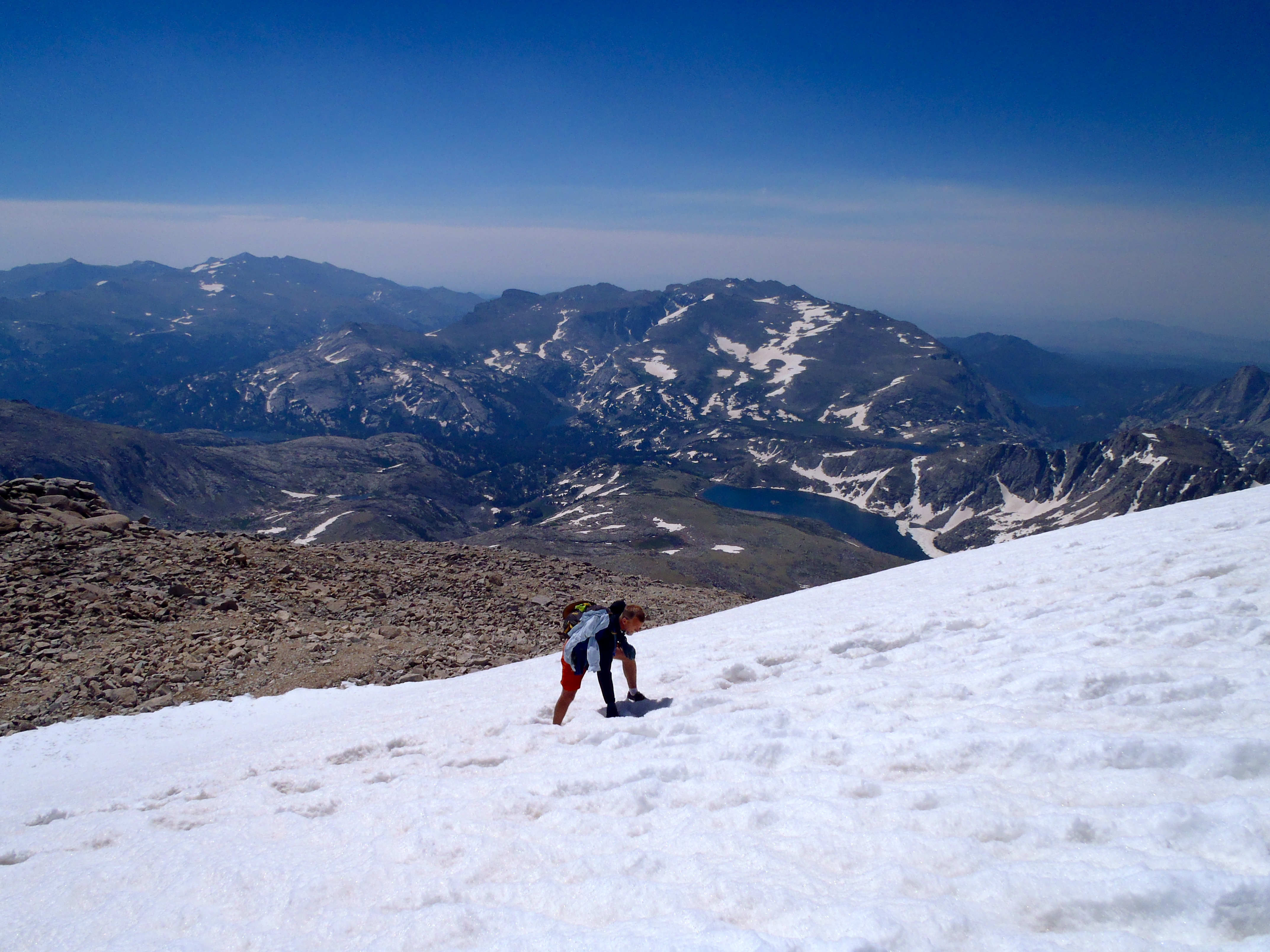 Jerry, hiking up one of the snow fields on Wind River Peak's northeast ridge.