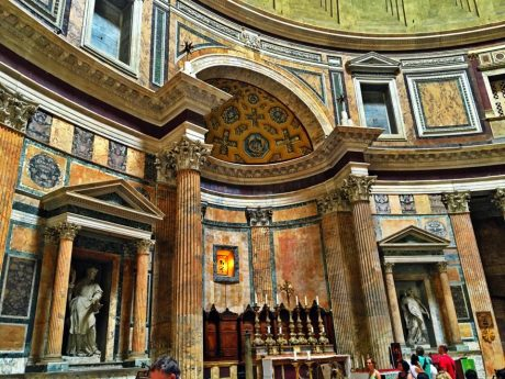 The altar, and the interior of the Pantheon is beautiful.