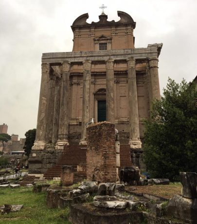 Remnants of a temple under which Marcus Aurelius' parents are buried.