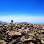 Jerry, at the beginning of Wind River Peak's summit, en route to the pile marking the peak's high point.