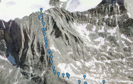 Here's a screen capture of our route in Google Earth.