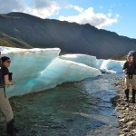 Antonia and JJ, checking out a spectacular blue ice formation that covered some of the river.