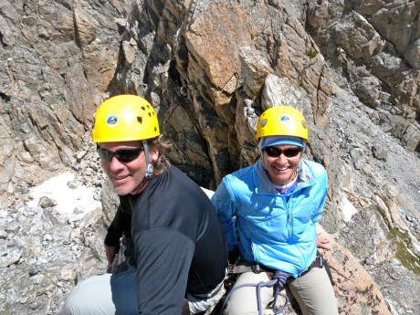 Jeff and I trying to relax as we wait on a tiny corner up high.