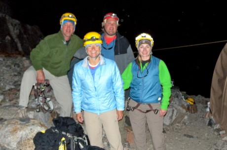 Ready, with headlamps on, for our summit day.