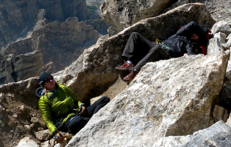 Our awesome JHMG guides, Julia Niles and Nate Opp, taking a well deserved siesta on top.