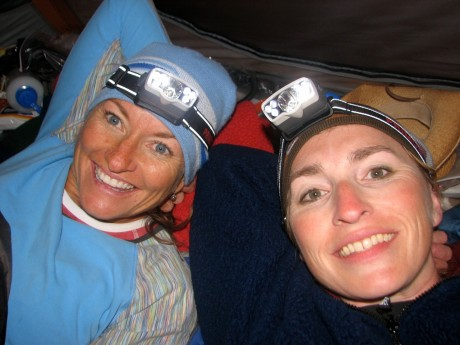 Kathy and I in our tent the night before Summit day, unable to sleep.