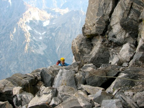 Me, scrambling my way up the Grand Teton.