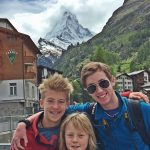 Hayden Fin and Wolf, in Zermatt, in front of the Matterhorn.