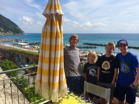 Jerry and the boys on our balcony of Giada Flat.