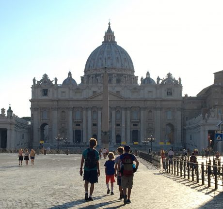 Jerry and the boys lead us toward St. Peter's Basilica, in Rome.