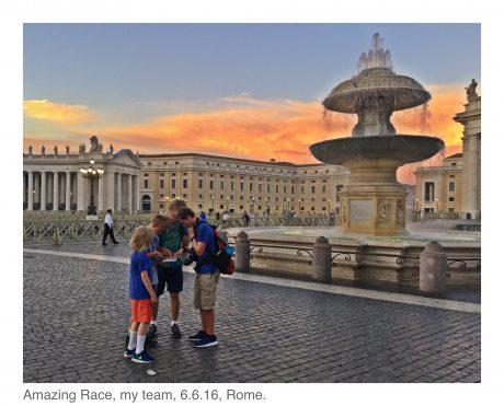 """""""The Amazing Race,"""" in St. Peter's Square. My team, June 6, 2016."""