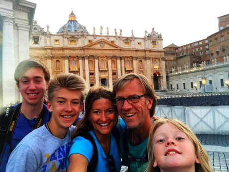 Family selfie in front of St. Peter's Basilica in Rome.