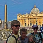 Jerry and the boys, in front of St. Peter's Basilica, waiting for the Pope.