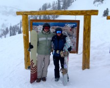 My friend, Joel Krieger from Atlanta, GA, and I posing next to trail map sign at top of Bridger Gondola.
