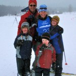 Family photo after finishing the Moose Chase 30k ski race. (Photo taken by Carolyn Gilbertson)