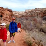 Our sons at the start of the Lower Calf Creek Falls hike.