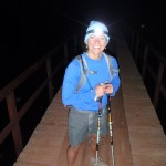 Crossing one of many bridges while descending the North Rim.