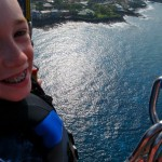 Wolf, our 9-year-old, smiles from 1,200 feet above the ocean.
