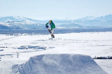 This would normally be my husband, Jerry, getting big air at JHMR's terrain park. But in this case, it is not, as he is recovering from a spine fusion. (Tristan Greszko photo/JHMR)