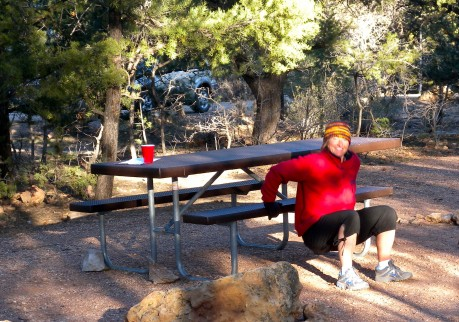 Getting some bench dips in at Grand Canyon while family was in tent still sleeping.