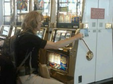 Sabrina tries her luck during layover in Vegas.