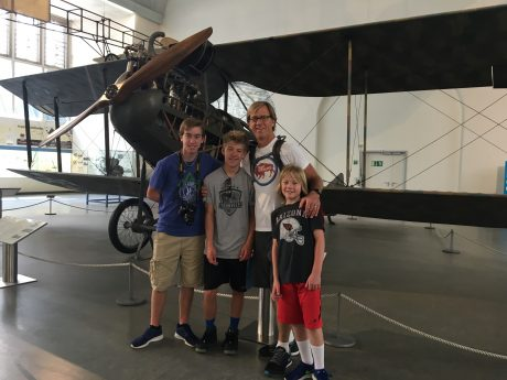"My guys, in front of Wright Model A ""Standard"" Biplane, 1909. The Wright brothers designed & built the worlds first mass produced aeroplane. It was a result of systematic improvements made on their first successful powered arrow plane the ""Flyer."""