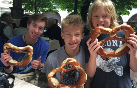 The boys were NOT disappointed in the plate-sized pretzels!