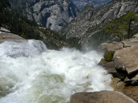 The volume of water running off forming Nevada Falls is astounding.