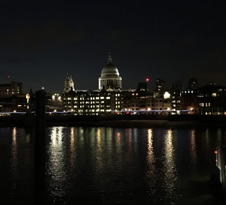 St. Paul's Cathedral, reflected in the River Thames, in London.