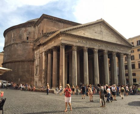 The Pantheon. The The Pantheon (temple of every god) is a building in Rome, on the site of an earlier building commissioned by Marcus Agrippa during the reign of Augustus (27 BC – 14 AD). The present building was completed by the emperor Hadrian, and probably dedicated about 126 AD.