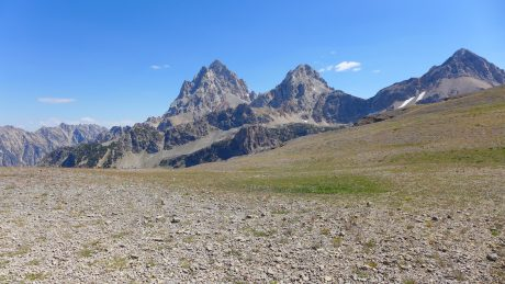 "Hurricane Pass, and the ""back"" of the Tetons."
