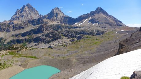 Schoolroom Glacier and Lake, and the back of the Tetons.