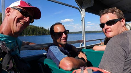 Jerry, Alan and Andrew, on a slow boat across Jenny Lake, with dreams of cold beers...