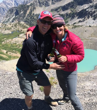 Cheers to 24 years! Champagne toast at Hurricane Pass.