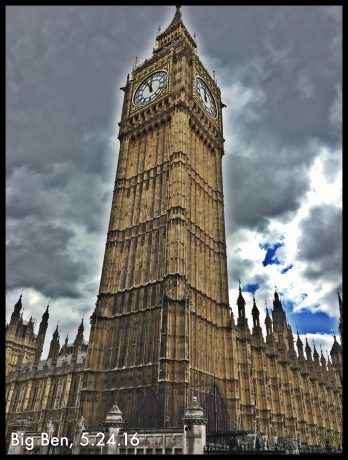Big Ben, at the north end of the Palace of Westminster in London.