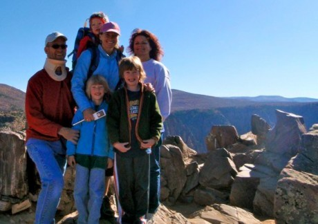 My husband, Jerry, me, our three sons, and my sister, Alicia, at Black Canyon.
