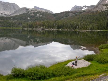 Kathy at Big Sandy Lake, 6 miles into our hike.