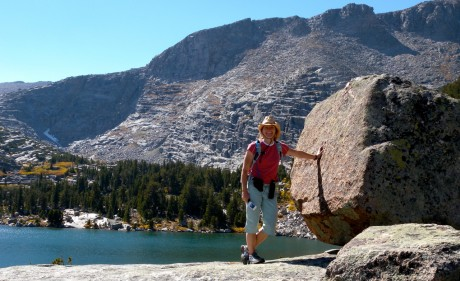 Stopping to pose by one of many beautiful lakes on a recent 25-mile day hike in Wyoming's Wind River Range.