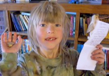 Hayden with his goods from the Tooth Fairy.