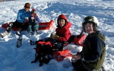 The boys and I taking a cocoa break while sledding.