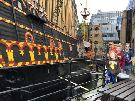 Jerry and the boys at the Golden Hinde II, a replica of Sir Francis Drake's ship.