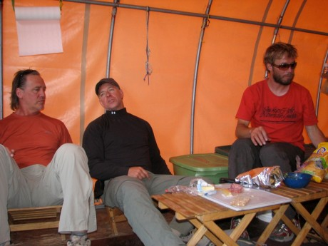 The community/kitchen hut. Here is Jeff Johnson of our group, a client from Corvallis, OR, and our guide, Nate Opp.