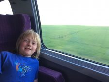Our youngest son, Fin, enjoying the train ride.