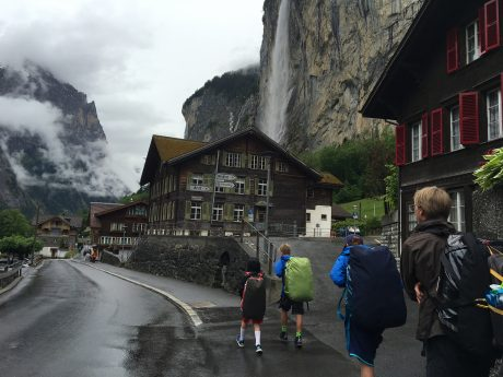 Jerry and the boys lead us to our accommmodations in Lauterbrunnen.