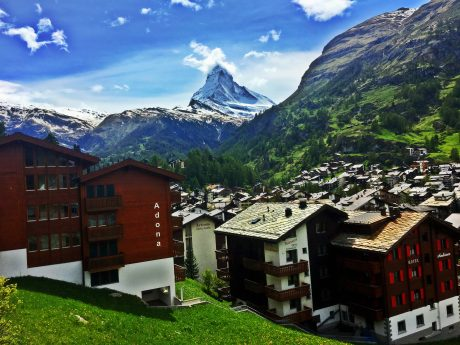The town of Zermatt, Switzerland, with the iconic Matterhorn in the background.