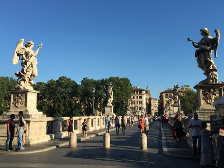 The spectacular Ponte Sant' Angelo Bridge, in Rome, a bridge that was completed in 134 AD by Roman Emperor Hadrian.